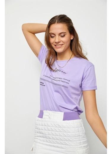 Setre Lila Slogan Baskılı T-Shirt Lila